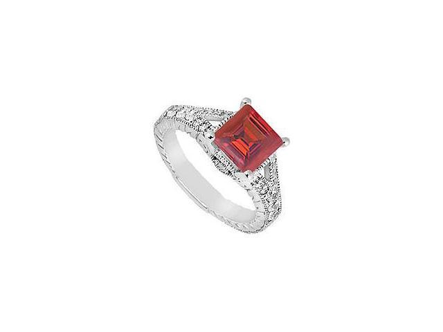Ruby and Diamond Engagement Ring 14K White Gold 1.25 CT TGW