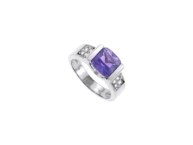 Amethyst and Diamond Ring 14K White Gold 1.00 CT TGW