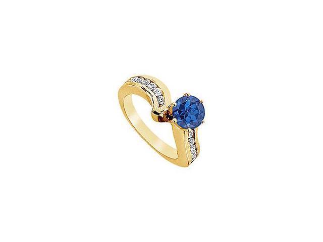 Sapphire and Diamond Engagement Ring 14K Yellow Gold 1.50 CT TGW