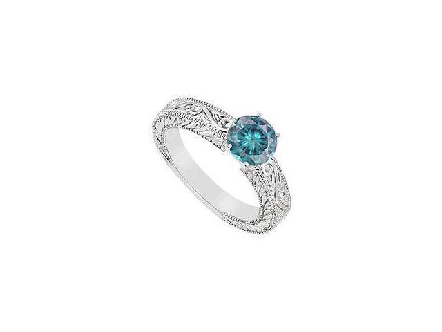 Blue Diamond Ring 14K White Gold 0.50 CT Diamonds