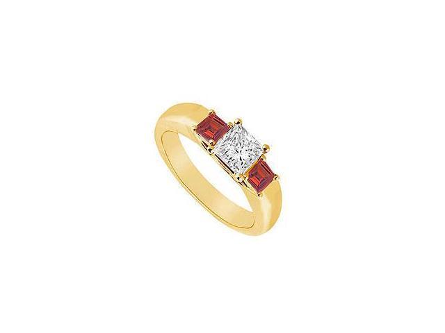 Three Stone Diamond and Ruby Ring 14K Yellow Gold 0.33 CT TGW
