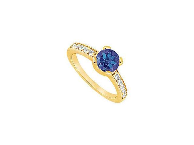 Sapphire and Diamond Engagement Ring 14K Yellow Gold 0.66 CT TGW