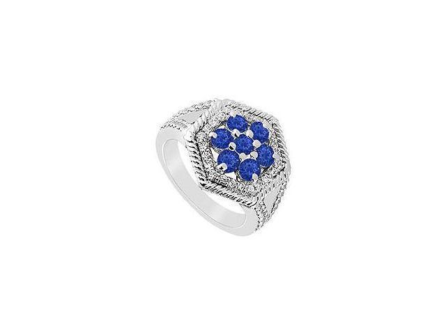 Sapphire and Diamond Flower Ring 14K White Gold 1.50 CT TGW