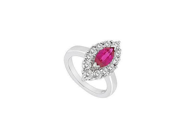 Created Ruby and Cubic Zirconia Ring 10K White Gold 1.75 Carat Total Gem Weight