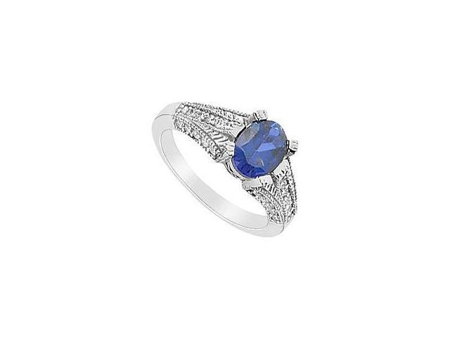 Created Sapphire and Cubic Zirconia Ring 10K White Gold 3.00 Carat Total Gem Weight