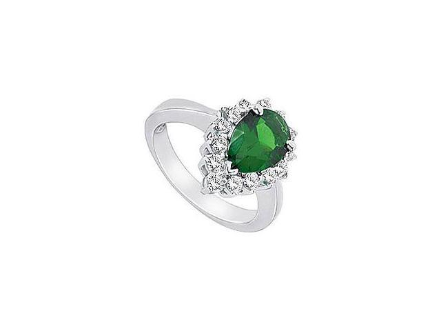 Created Emerald and Cubic Zirconia Ring 10K White Gold 2.50 Carat Total Gem Weight