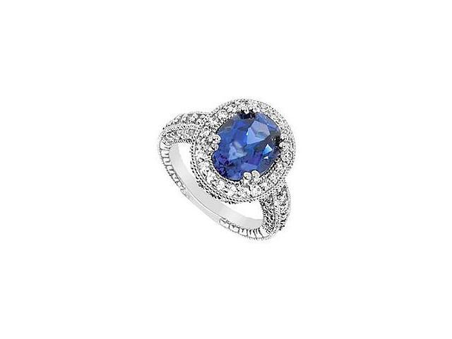 Created Sapphire and Cubic Zirconia Ring 10K White Gold 4.50 Carat Total Gem Weight