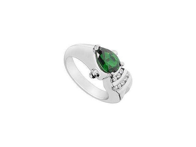 Created Emerald and Cubic Zirconia Ring 10K White Gold 1.75 Carat Total Gem Weight