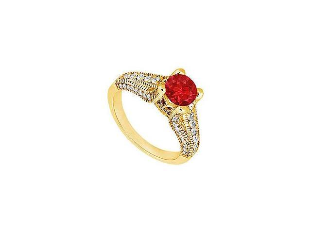 Ruby and Diamond Engagement Ring 14K Yellow Gold 1.00 CT TGW