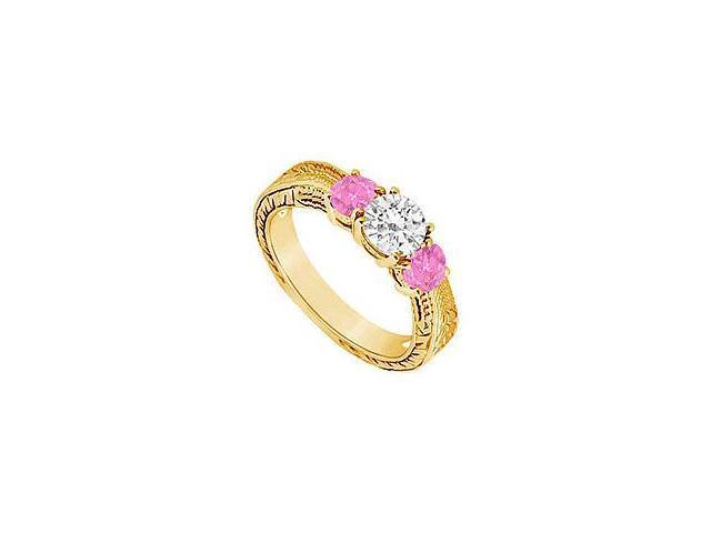 Three Stone Pink Sapphire and Diamond Ring 14K Yellow Gold 0.50 CT TGW
