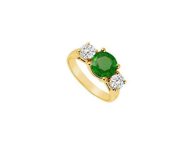 Three Stone Emerald and Diamond Ring 14K Yellow Gold 2.50 CT TGW