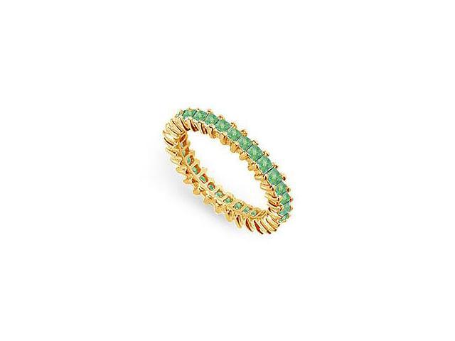 May Birthstone Emerald Eternity Band 14K Yellow Gold 2 CT TGW Second Wedding Anniversary Gift