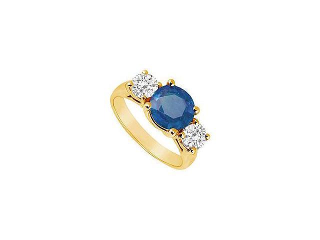 Three Stone Sapphire and Diamond Ring 14K Yellow Gold 3.00 CT TGW