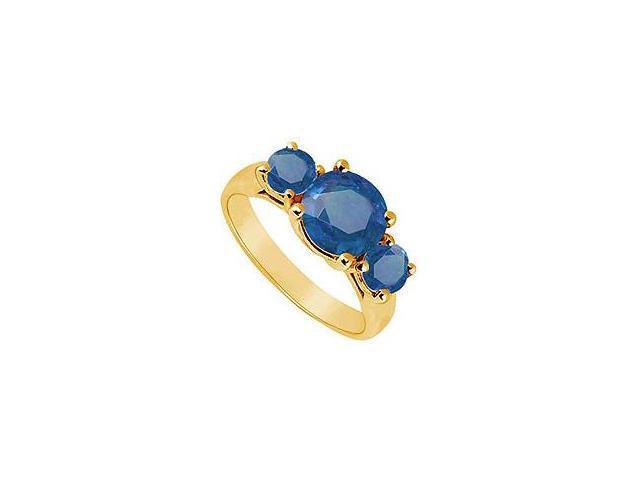 Three Stone Sapphire Ring 14K Yellow Gold 2.00 CT TGW