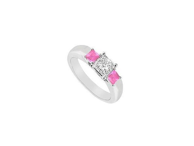 Three Stone Diamond and Pink Sapphire Ring 14K White Gold 0.33 CT TGW