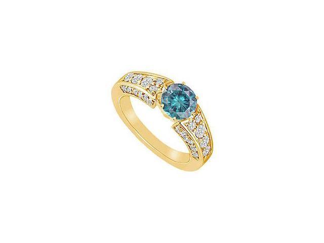 Blue Diamond Ring 14K Yellow Gold 2.00 CT Diamonds