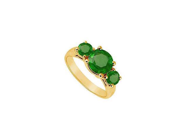 Three Stone Emerald Ring 14K Yellow Gold 2.00 CT TGW