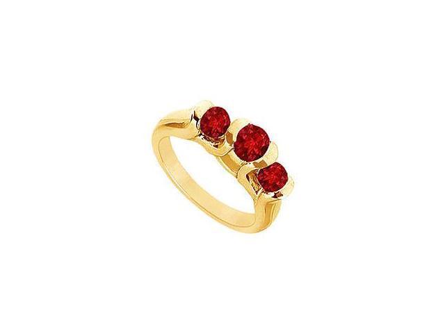 Three Stone Ruby Ring 14K Yellow Gold 1.00 CT TGW