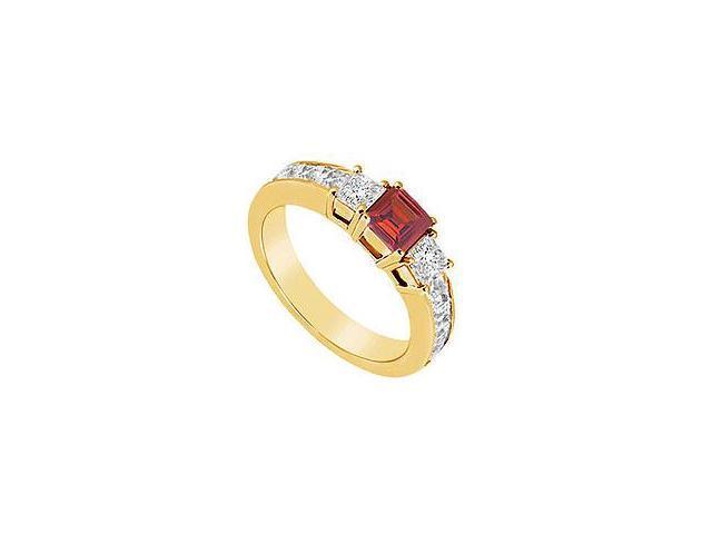 Ruby and Diamond Ring 14K Yellow Gold 1.25 CT TGW