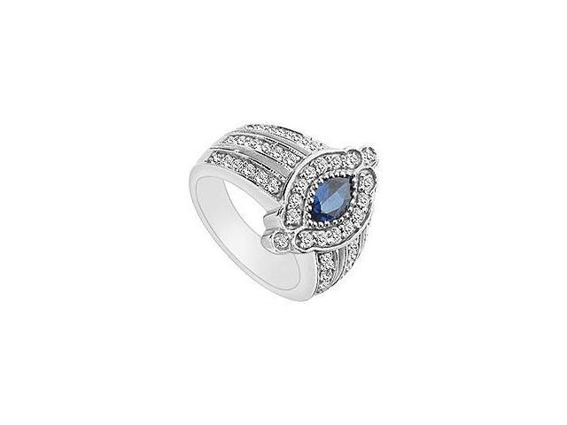 Created Sapphire and Cubic Zirconia Ring 10K White Gold 1.50 Carat Total Gem Weight