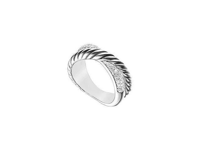 Diamond Twisted Crossover Ring 14K White Gold 0.50 CT Diamonds