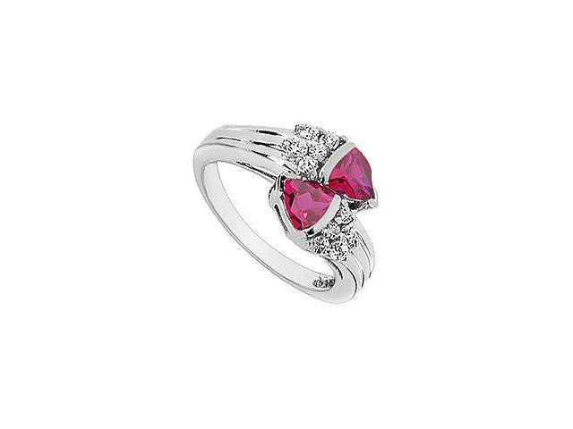 Created Ruby and Cubic Zirconia Ring 10K White Gold 1.00 Carat Total Gem Weight