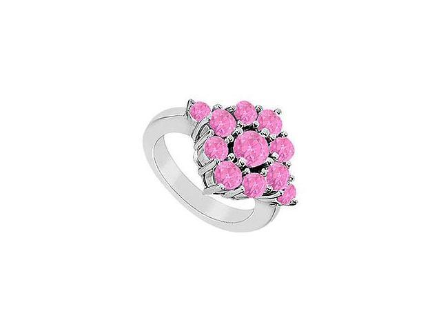 Pink Sapphire Ring 14K White Gold 1.50 CT TGW