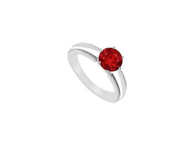Ruby Ring 14K White Gold 1.00 CT TGW