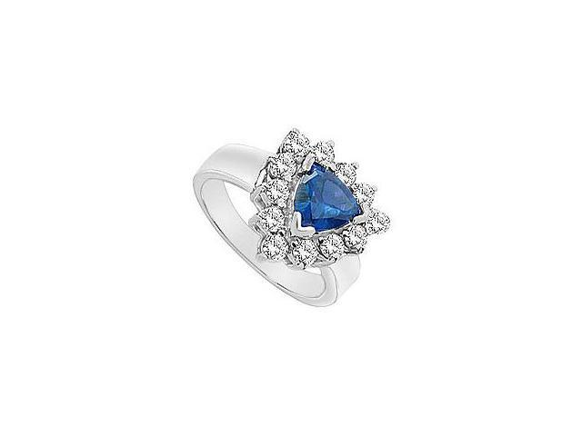Created Sapphire and Cubic Zirconia Ring 10K White Gold 2.00 Carat Total Gem Weight