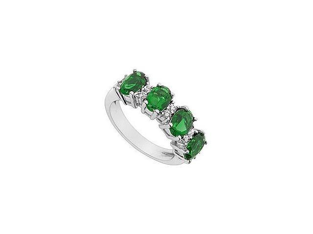 Created Emerald and Cubic Zirconia Ring 10K White Gold 2.25 Carat Total Gem Weight