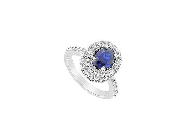 Created Sapphire and Cubic Zirconia Ring 10K White Gold 3.25 Carat Total Gem Weight
