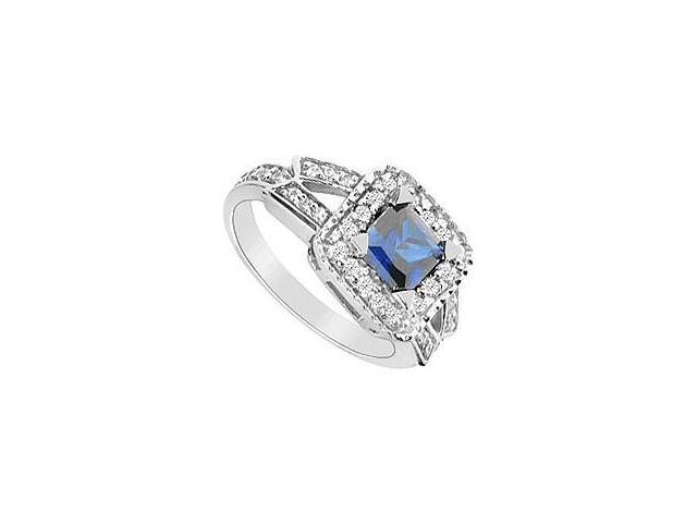 Created Sapphire and Cubic Zirconia Ring 10K White Gold 1.75 Carat Total Gem Weight