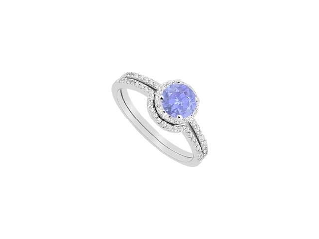halo tanzanite engagement ring with wedding band