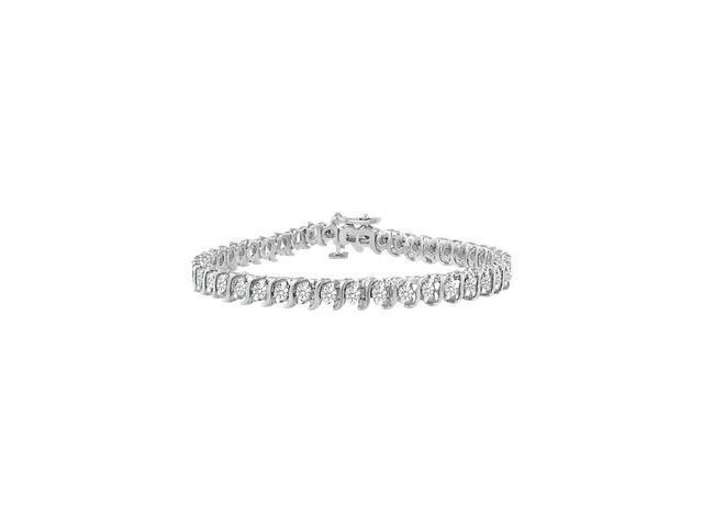 Cubic Zirconia S Tennis Bracelet 925 Sterling Silver 3.00 CT TGW