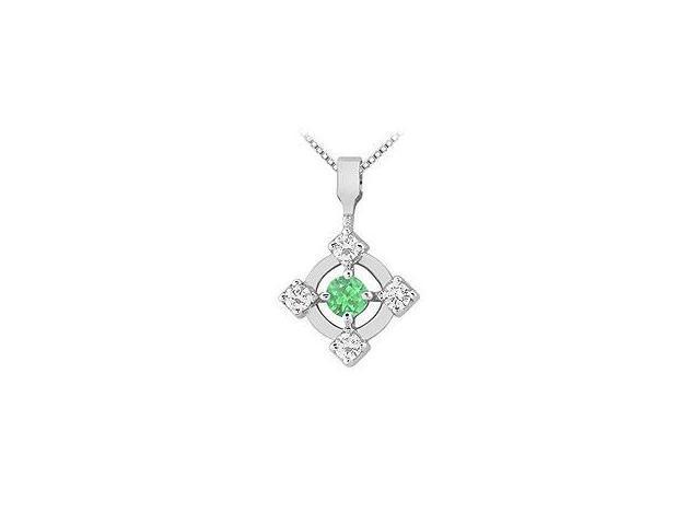 Three Stone Emerald and Diamond Ring 14K Yellow Gold 0.33 CT TGW