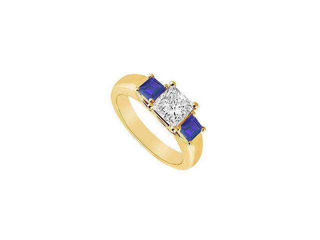 Sapphire and Diamond Engagement Ring 14K White Gold 0.75 CT TGW