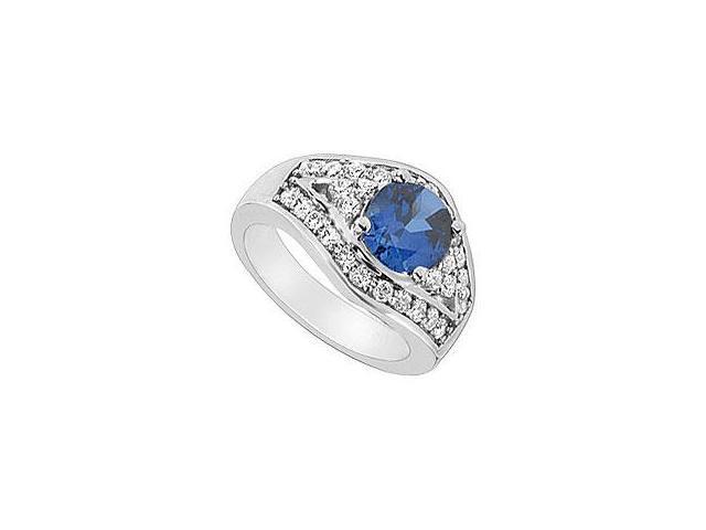 Sapphire and Diamond Wedding Band 14K White Gold 1.25 CT TGW