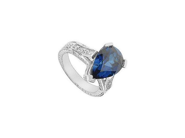 Sapphire and Diamond Engagement Ring 14K White Gold 1.50 CT TGW