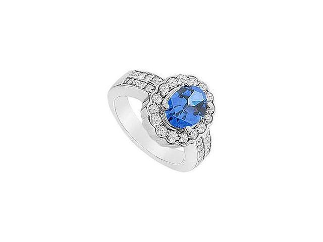 Sapphire and Diamond Engagement Ring 14K White Gold 0.66 CT TGW