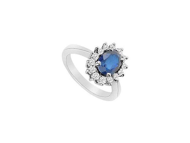 Sapphire and Diamond Engagement Ring 14K White Gold 1.25 CT TGW