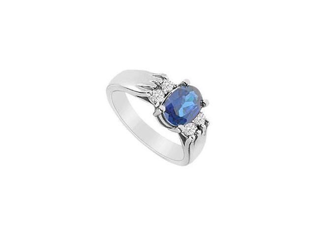 Sapphire and Diamond Engagement Ring 14K White Gold 1.25 CT TGW