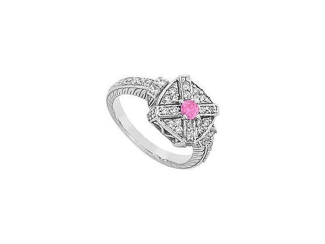 Ruby and Diamond Ring 14K White Gold 0.75 CT TGW