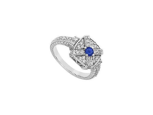 Sapphire and Diamond Ring 14K White Gold 0.75 CT TGW