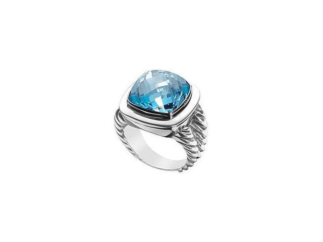 Created Blue Topaz Ring 14K Yellow Gold 1.00 CT TGW