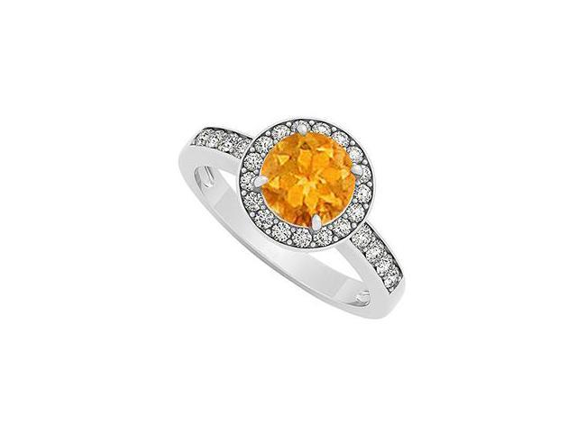 citrine november birthstone with cubic zirconia halo