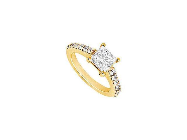 Emerald and Diamond Engagement Ring 14K Yellow Gold 2.50 CT TGW