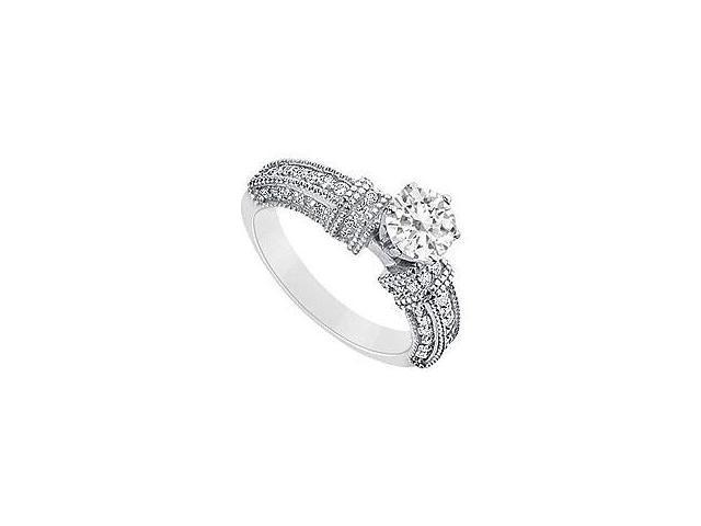 Diamond Engagement Ring 14K White Gold 1.50 CT Diamonds