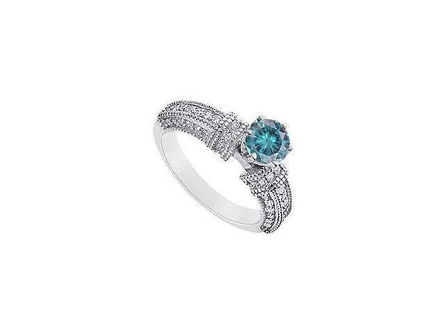 Created Emerald and Cubic Zirconia Ring 10K White Gold 4.50 Carat Total Gem Weight