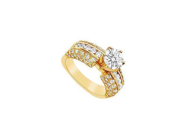 Emerald and Diamond Engagement Ring 14K Yellow Gold 2.00 CT TGW