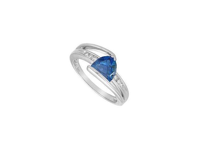 Created Aquamarine and Diamond Ring 14K White Gold 1.50 CT TGW